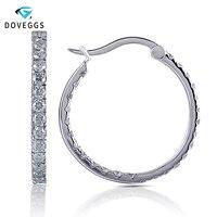 DovEggs платиновым покрытием серебра 1.82ctw лаборатории искусственный Муассанит бриллиантовые серьги кольца для женские большие размеры круглы