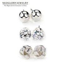 Neoglory ריינסטון שלושה זוגות תכשיטי כדורי לבן Stud סט עגילים לנשים מותג אופנה 2017 חדש Colf FA