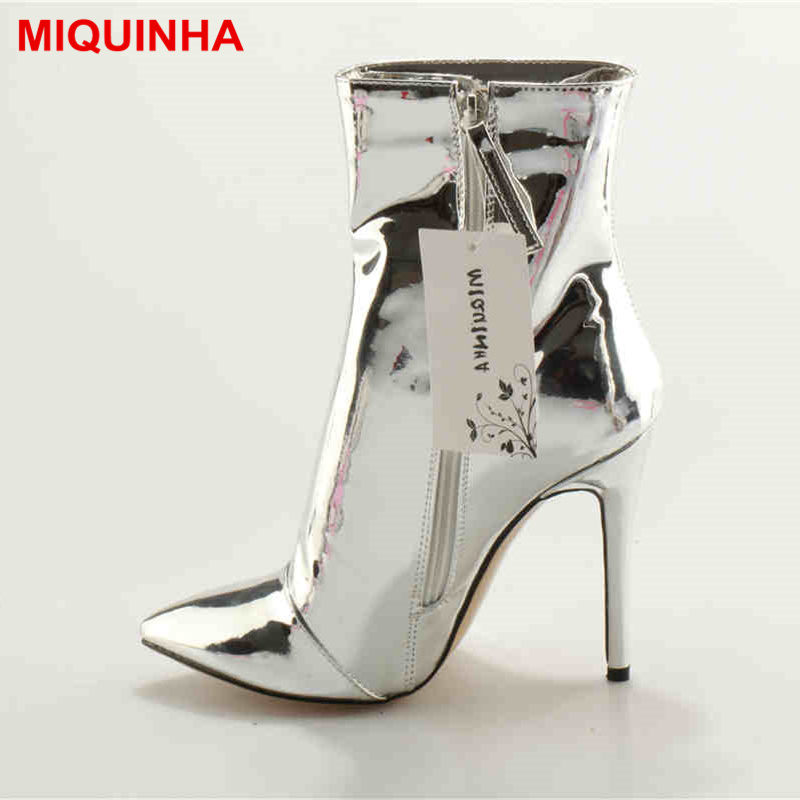 MIQUINHA Pointed Toe Silver Women Boots Short Booties Fashion Luxury Brand Star Runway Dress Zippered Shoes Sexy High Thin Heel miquinha round toe women boots mixed color short booties luxury brand women cool runway fashion star high heel boots buckle shoe