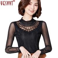 Yesvvt 2017 Chemise Femme Lace Blouse Chiffon Shirt Women Tops Long Sleeve Women Blouses Blusas Camisas
