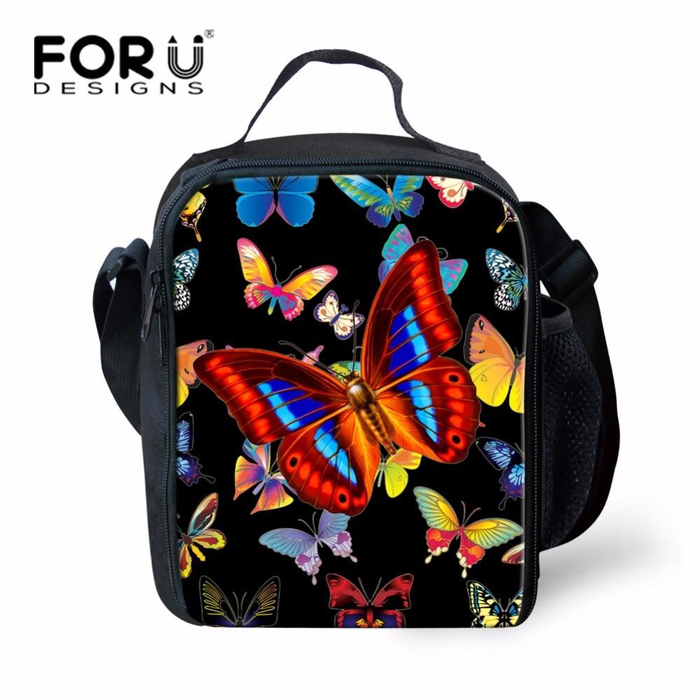 FORUDESIGNS Black Women Girls Butterfly Food Bag Keep Warm Picnic Bag Insulated Teen Girls School Kids Lunch Bag with Shoulder