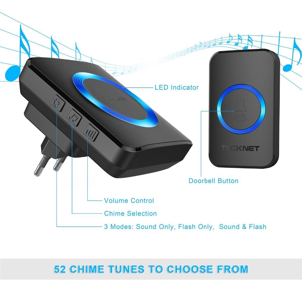 Image 3 - TeckNet Wireless Doorbells Twin Waterproof Wall Plug in Cordless Door Bell Chime 300M Range 52 Chimes 4 Level Volume Blue Light-in Doorbells from Home Improvement