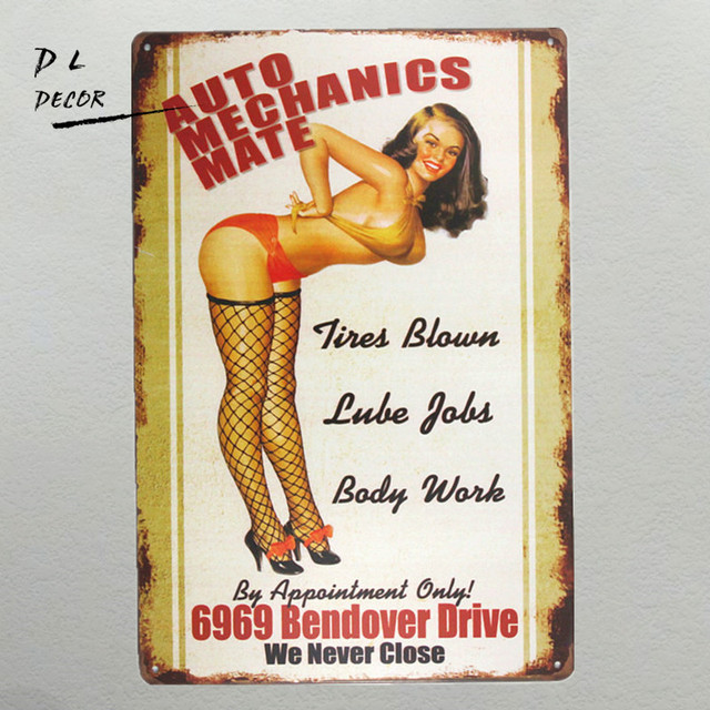 Dl Auto Mechanics Mate Metal Sign Garage Signs For Men Home Decor Pin Up Poster