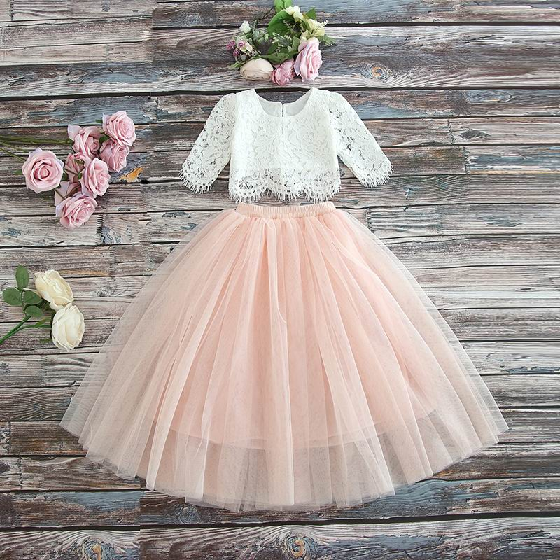 2019 Spring Summer season Set Clothes For Ladies Half Sleeve Lace High+Champagne Pink Lengthy Skirt Youngsters Garments 2-11T E17121