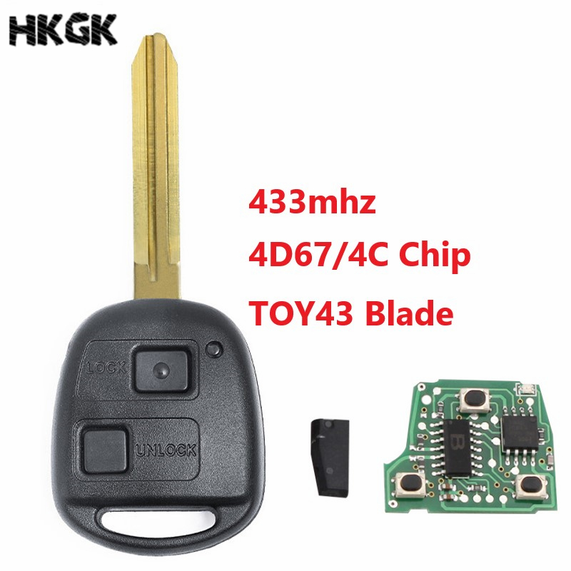 2 <font><b>Buttons</b></font> 433Mhz Car <font><b>Remote</b></font> <font><b>key</b></font> For <font><b>Toyota</b></font> <font><b>Avensis</b></font> Kluger Prado120 Tarago RAV4 Replacement <font><b>Remote</b></font> Control <font><b>Key</b></font> 4D67/4C Chip image