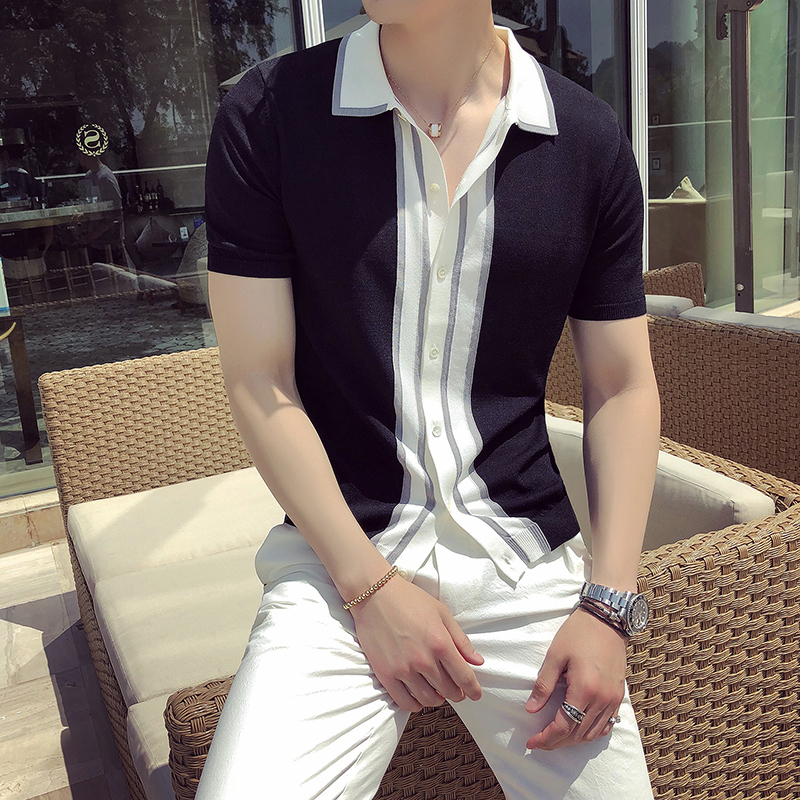 High Quality Polo Shirt Men Summer British Style Slim Fit Casual Knitted Polo Homme Short Sleeve Turn Down Collar Business Polos