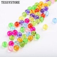 Contas espaçadoras para fazer jóias, 6mm/8mm/10mm, transparentes, acrílico, redondo, colorido, plástico, espaçador acessórios diy feitos à mão