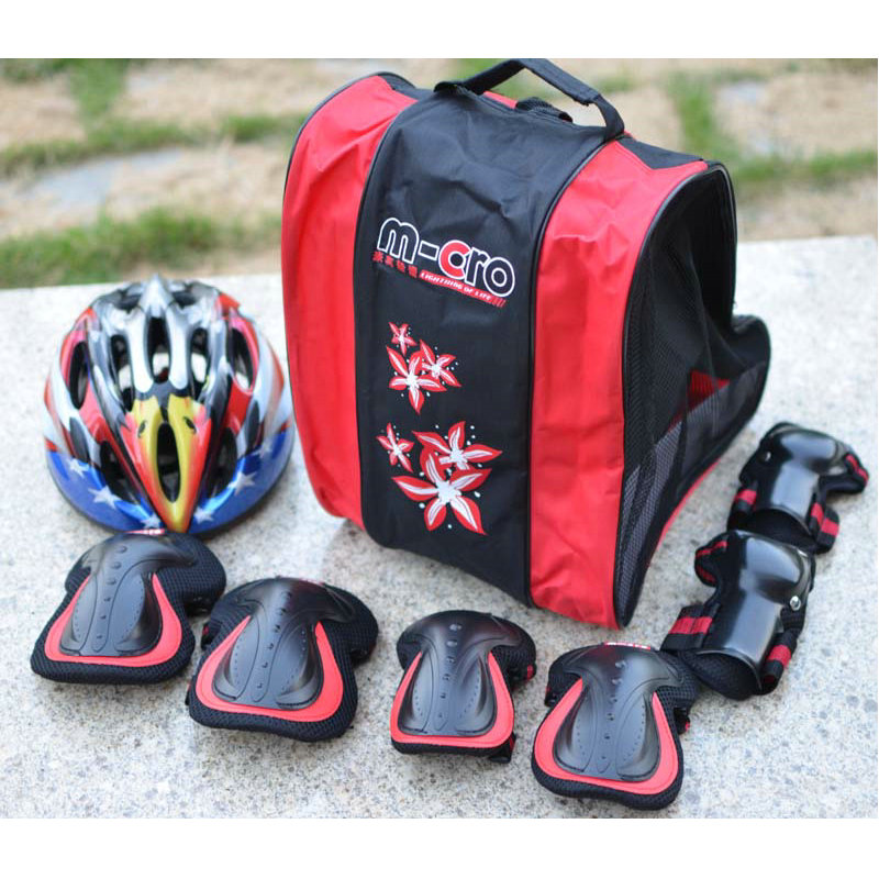 6Pcs/Set Men Women Children Kid Sports Roller Skating Elbow Knee Skateboard Skiing Gear Helmet Roller Skating Bag parts