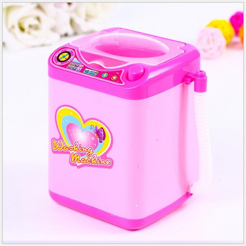 Mini Makeup Brush Cleaning Electric Pink Washing Machine Toys Pretend Play Kids Toys Children Furniture Toys Children's Day Gift(China)
