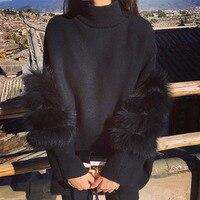 Women Oversized Fur Crop Sweater Winter Truien Dames Fluffy Sweater Tunic Turtleneck Pull Femme Manche Longue