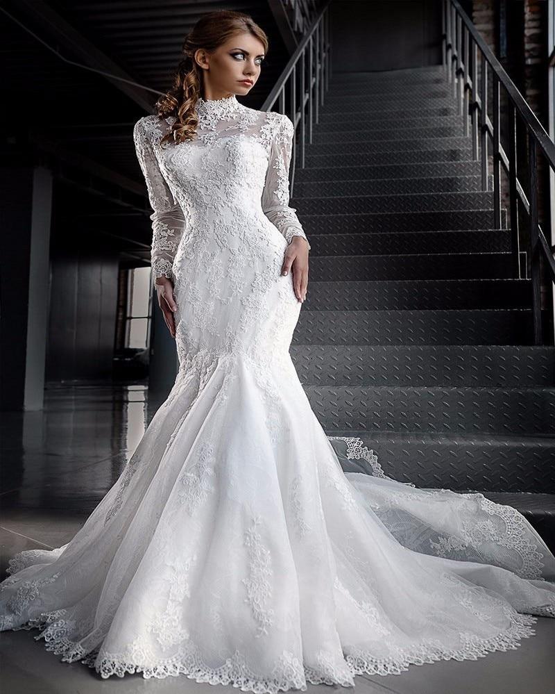 Vintage Lace Long Sleeve Muslim Wedding Dress 2017 High Neck ...
