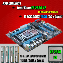 for Intel Xeon X79 motherboard CPU RAM combos LGA 2011 E5 2660 V2 (10 cores/20 threads) memory (4*4G)16G DDR3 REG ECC