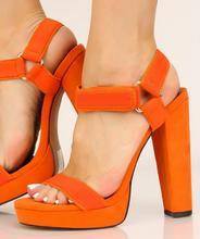 Hot Selling Orange Suede High Heel Sandals Summer Open Toe Platform Thick Heels Woman Shoes Buckle Strap Dress Heels цены онлайн