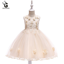 Formal Girls Lace Dress Floral Princess Evening Dresses Pageant Kids Party for BallGown Children Fashion Frocks