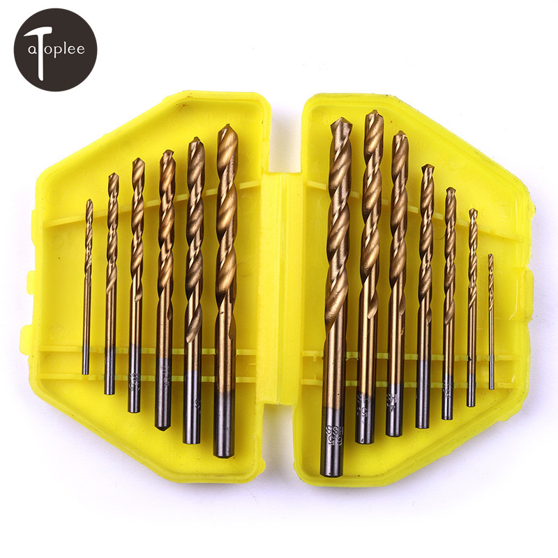 13PCS HSS 1.5mm-6.5mm Metric Durable Titanium Quick Change Twist Drill Bits Set Tools Drilling With Butterfly Case semi automatic spiral drill hand push drilling with spring beading jewelry pin vise tool with 20cps 0 3 1 6mm twist drill bits