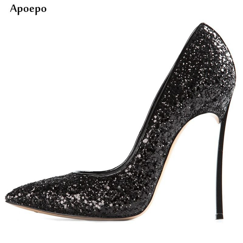 Apoepo Newest Black Glitter Embellished Pointed Toe High Heels 10cm Thin Heels Sexy Shallow Mouth Shoes Wedding Heels for Woman spring summer high heels 2016 korean thin heels with a fine pointed shallow mouth sexy wedding shoes wear comfortablesuede shoes