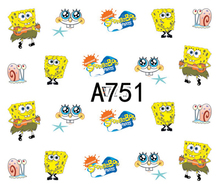 Nail Sticker Water Decals Cute SpongeBob Cartoon Slider Art design Decoration Tattoo Manicure Foil Adhesive Wraps Pegatinas