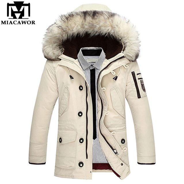 825275bf17695 MIACAWOR New High Quality Down Coat Men Windproof Thick Warm Winter Jackets  Fur Collar Hooded Casual