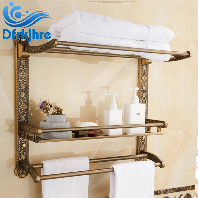 Sing/Double/Three Layer Antique Brass Rack Holder Towel Shelf Black Bathroom Accessory Kit цена