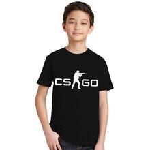 CS GO juego camiseta Csgo logotipo camiseta verano manga corta Camiseta  adolescente Counter Strike camisetas Tops Niño moda 73b0f90d159fd
