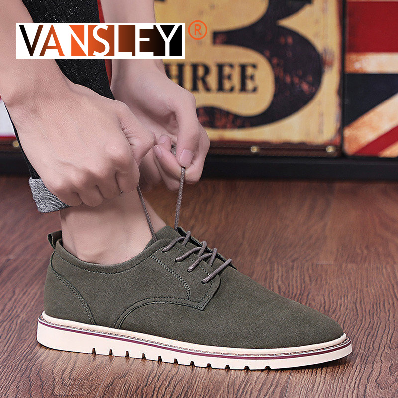 Classic Men's Casual Shoes Plus Size Breathable Man Oxford Loafers Lace-Up Suede Leather Man Casual Shoes Moccasins 38-47
