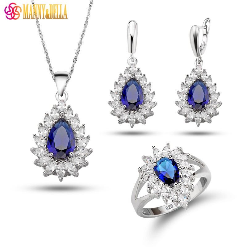 Precious Water Drop White Blue Zircon Crystal Earrings Pendant Necklace Ring For Women 925 Mark Silver Color Jewelry Sets