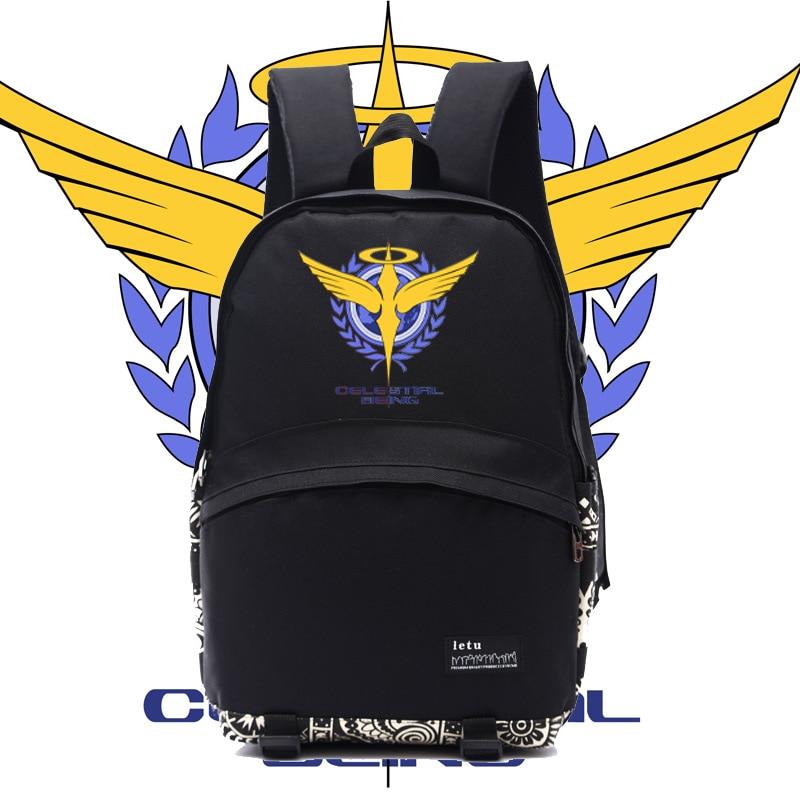 Männer anime Gundam oo rucksack gundam celestial sein logo druck schwarzer rucksack schulrucksäcke für jugendliche nb007