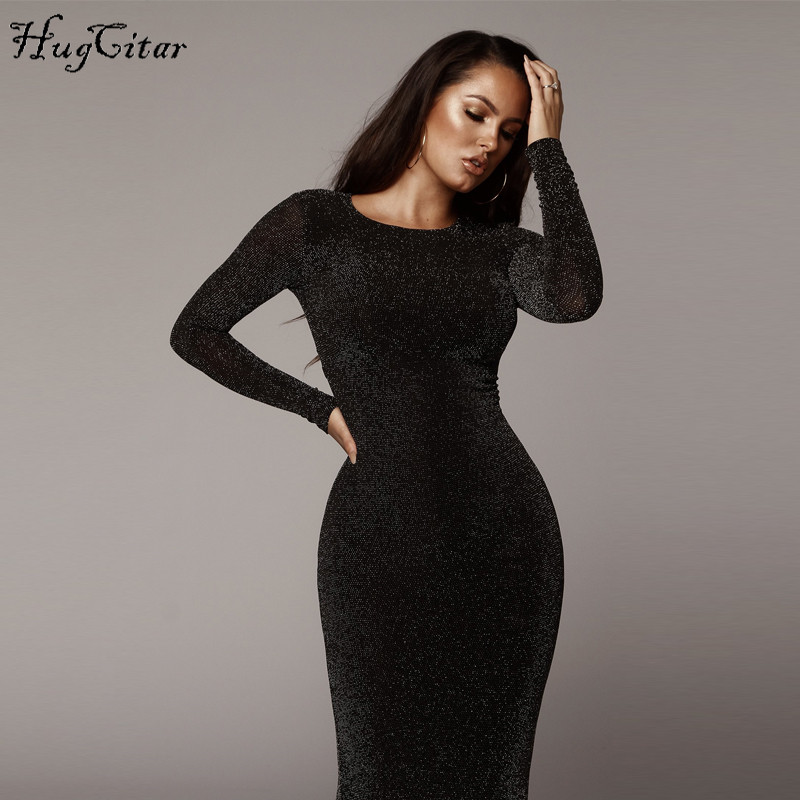 127f669cbdfc1 Hugcitar long sleeve high waist reflective sexy slim dress 2018 autumn  winter women fashion Christmas party dress | Shopping discounts and deals  for ...