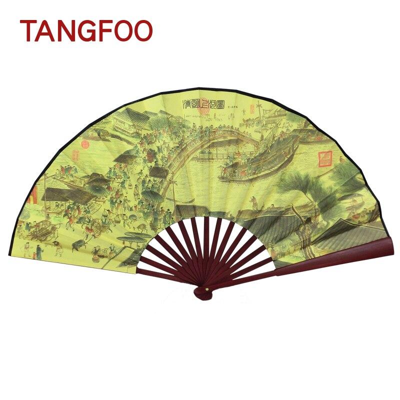 Chinois Hommes Vintage Soie Bambou Ventilateur se Pliant Classique Antique Main Fan Mâle personnalisé Asiatique poche Ventilateur faveurs de mariage de BRICOLAGE vintage ventilateur