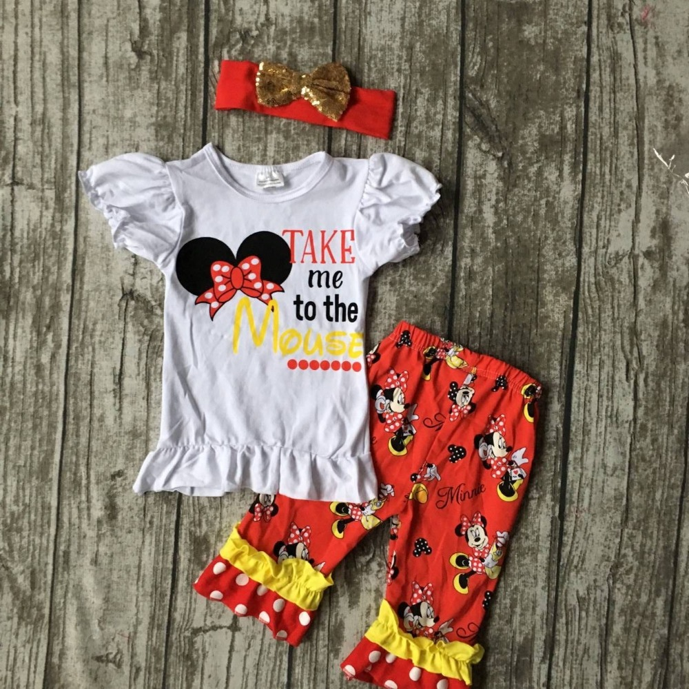 baby girls minnie Capri set girls take me to the mouse clothing girls minne outfits capri kids minnie capri pant with headband