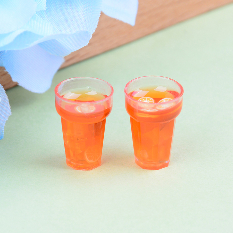 Doll house miniature iced black tea beverage cups food drink toy decor 2pc IC