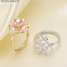 DIY Pearl Ring 925 silver Accessories Natural freshwater rings s925 Sterling Silver ring simple style 8-10 mm 5 pearls