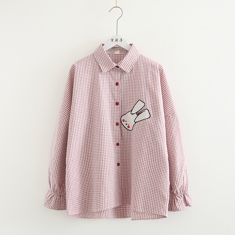 Blouses & Shirts Kyqiao Plaid Shirt 2019 Mori Girls Autumn Spring Japanese Style Fresh Vintage Long Sleeve Plaid Embroidery Blouse Blusa