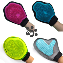 Щетка для кошек, перчатка для собак, животные, расчесывание, уход за кошками, мягкий силиконовый массажер, зеленый, розовый, голубой, для удаления волос, CL0002