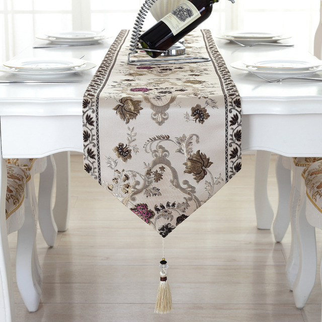 WLIARLEO Mulberry Silk Table Runner Europe Classical Embroidered Table  Runners High Quality Table Runner For Banquet