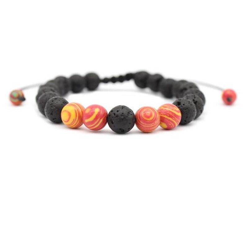 10 Pcs Natuur Steen Lava Stone Bead Charm Armbanden Bangles Yuga Energey Boeddha Strand Armband Sieraden Accessoires Hand Chain Modern Ontwerp