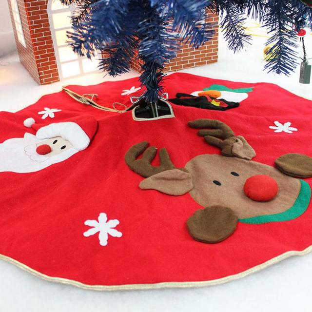 70 100cm Red Christmas Tree Skirt Embroidered Non Woven Xmas Trees