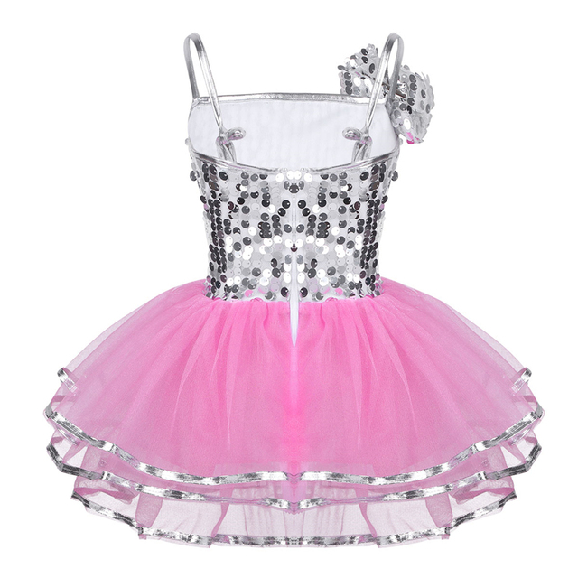 Kids Girls Jazz Dress Sparkly Sequins Mesh Dress with Hairclip Set for Modern Contemporary Stage Performance Dance Clothes
