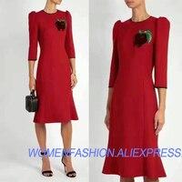 100% шерсть зимнее платье для женщин, элегантный офис платье, тонкий vestido de festa красное платье, фрукты Алмазный орнамент осеннее платье