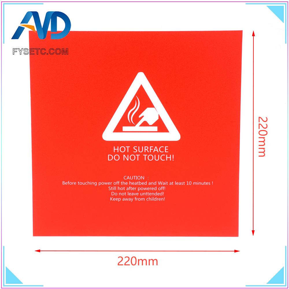 1pc Red Frosted Heated Bed 220x220mm For Wanhao I3 Anet A8 A6 Ender 5 3D Printer Sticker Build Sheet Build Plate Tape