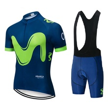 2019 movistar UCI Color strip Edition TOUR EUROPA MTB Custom top Bike Shorts Set Quick Dry Rope For Mens Pro Cycling Culotte 9D