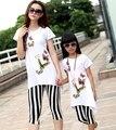 Семьи комплект летняя женщина девушки хлопок комплект семья бабочка долго майка + полосатый узкие брюки наряды