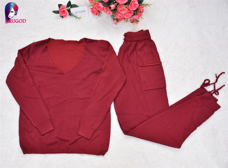 17 Hot 2 Pieces Set Women V-Neck Sexy Knitted two pieces sets Spring Suits Tracksuit Sweater top+ Pants Set Womens Casual Suit 33