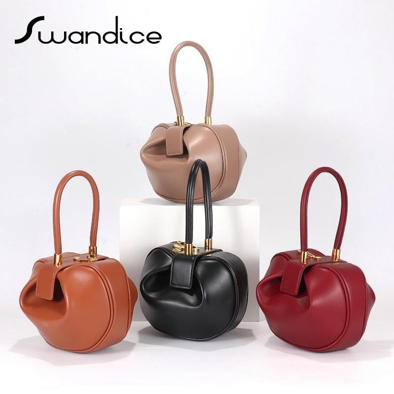 2019 Vintage Pillow Boston Box Barrel Round Small Handbags Genuine Leather Clutches Evening Wrist Bags Women