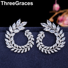 ThreeGraces Famous Design Sparkling Olive Branch Leaf Shape Marquise Cut Luxury Cubic Zirconia Stud Earrings for Women ER282