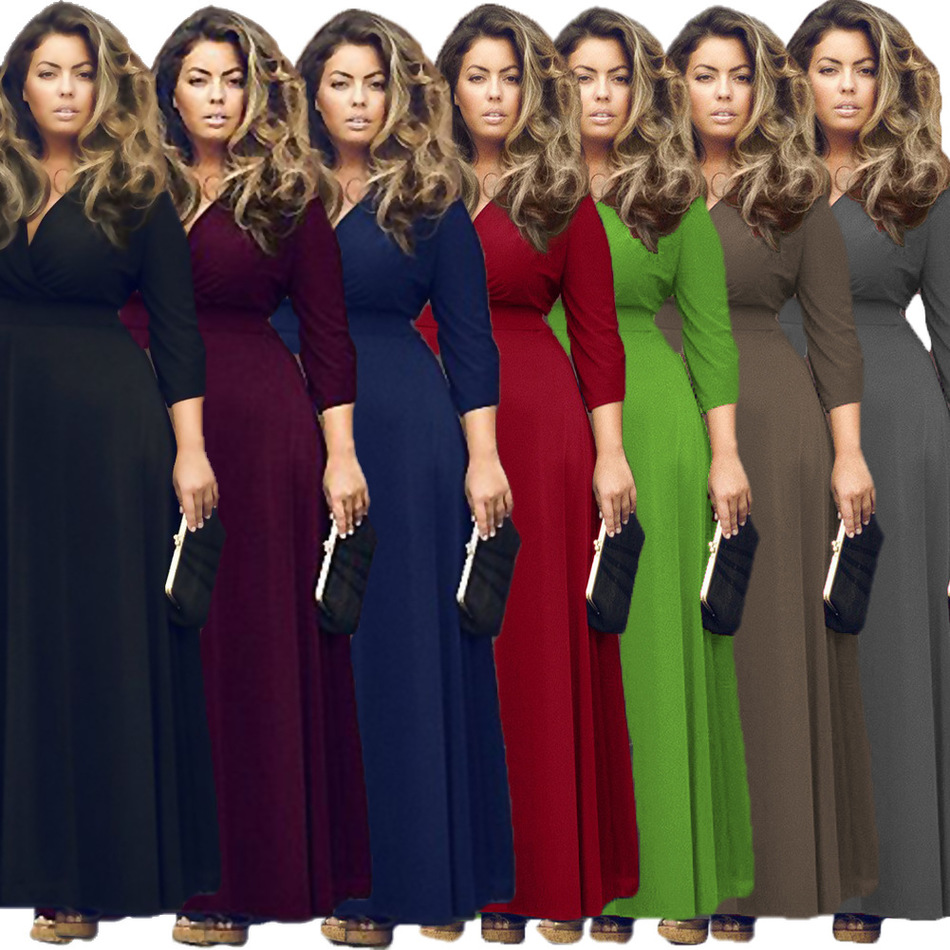 High Elastic Women Long Dress Big Size 2017 Spring Hot Lady Female Solid Three Quarter Sleeve V Neck Maxi Dresses Plus Size p40