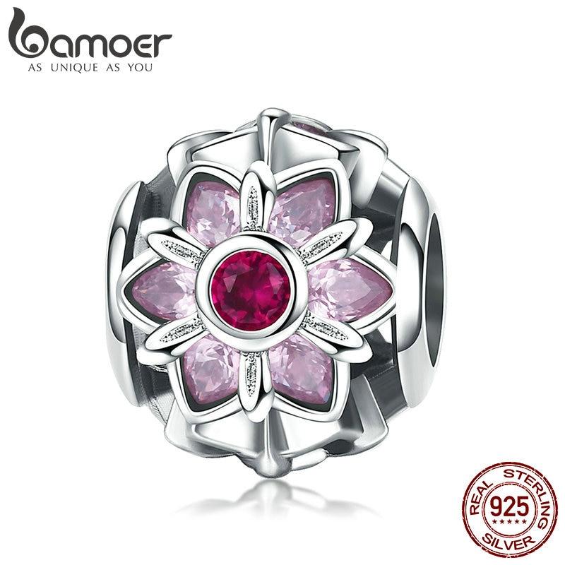 BAMOER 925 Sterling Silver Crystal Flower Pink CZ Flower Beads fit Women Charm Bracelets DIY Jewelry Girlfriend Gift SCC839 pink flower print fit