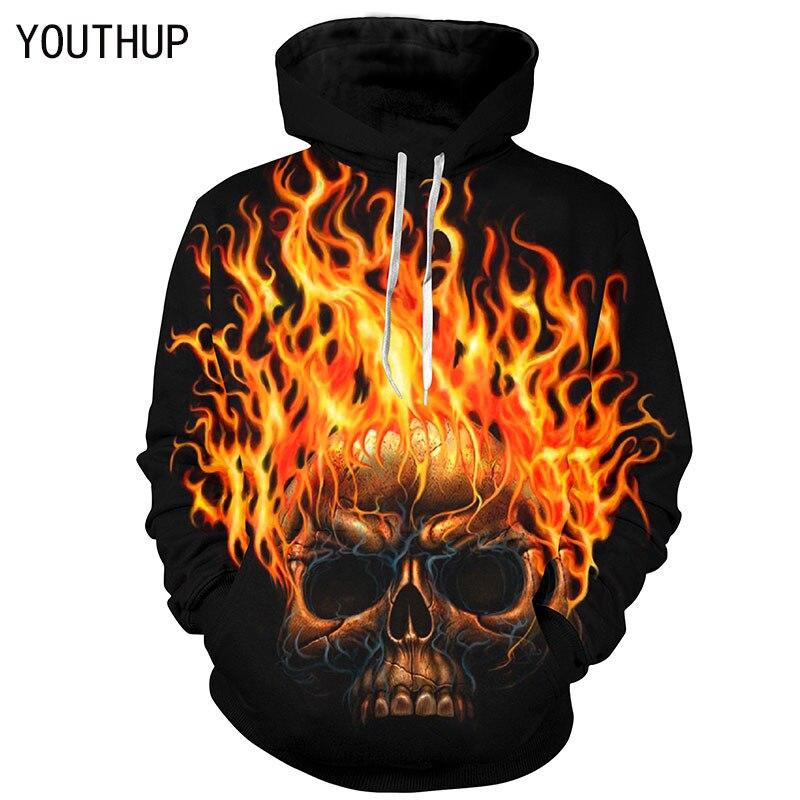 Youthup 2018 Новый Дизайн Для мужчин Толстовки с капюшоном верхняя одежда с длинными рукавами 3D принт Fire Skull пуловер в стиле панк-рок Для мужчин 3D ...
