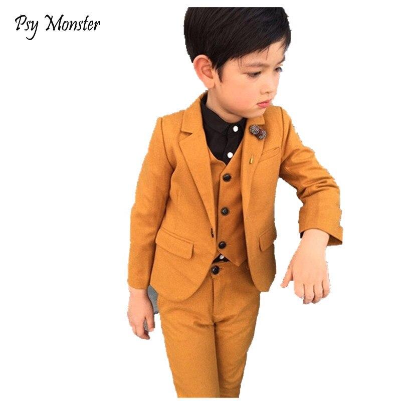Kids 3PCS Vest Pant Blazer Solid Suit for School Boys Performance Formal Party Dress Suit Flower