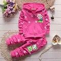 2016 новая коллекция весна осень новорожденных девочек комплект одежды детей толстовки девушки хлопок футболки + брюки спортивный костюм набор дети верхняя одежда